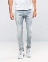 Asos Super Skinny Jeans In Light Blue Acid Wash