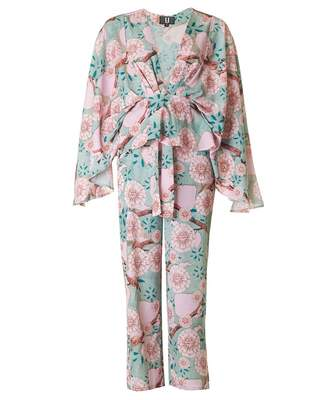 Forever Unique Collection Floral Print Two Piece Colour: Mint And Pink