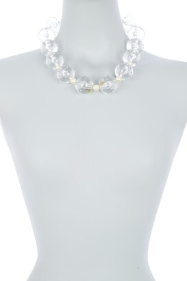 Carolee Clear Bead & Imitation Pearl Statement Collar Necklace