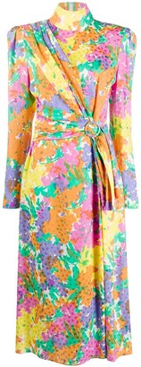 Alessandra Rich Belted Floral-Print Dress
