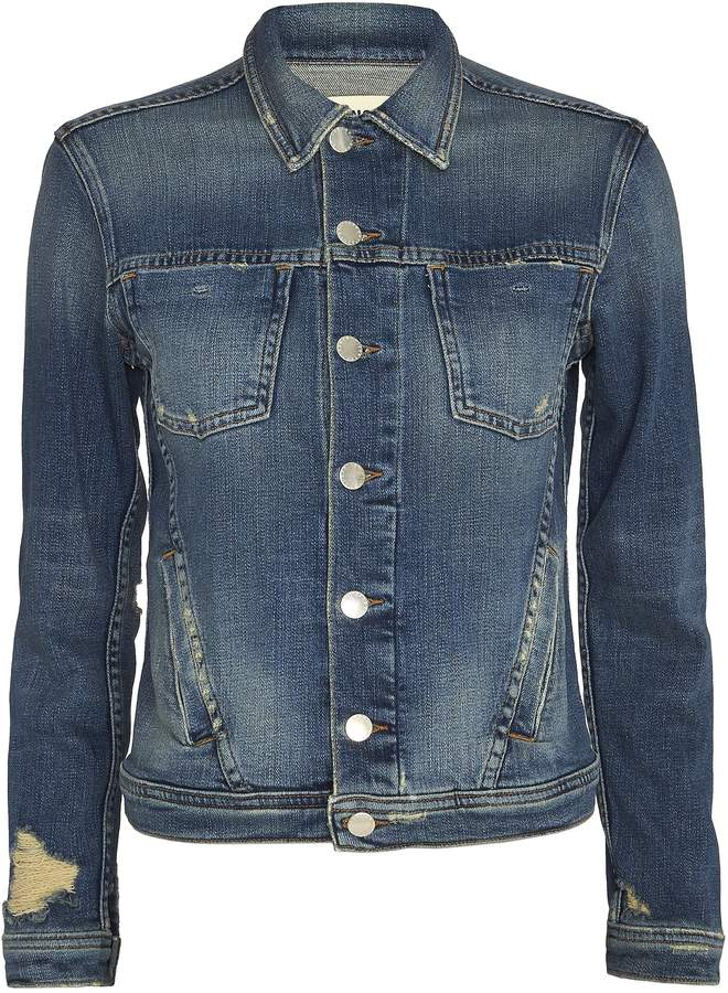 L'Agence Celine Femme Distressed Denim Jacket Denim S