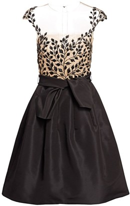 Oscar de la Renta Sheer-Bodice Fit-&-Flare Dress