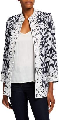 Bella Tu Ikat Linen Coat with Mandarin Collar