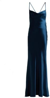 Galvan Whiteley Silk-satin Gown - Mid Blue