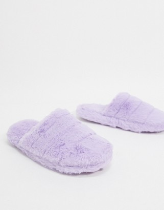 ASOS DESIGN Zoe quilted slider slippers in lilac