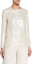 Lafayette 148 New York Bonnie Spectrum Sequins Long-Sleeve Blouse