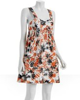Triton by Tufi Duek orange painted 'Iris' babydoll dress