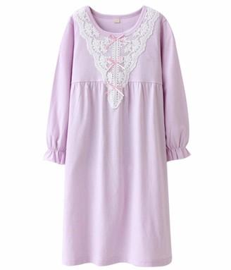 HOYMN Girls' Lace Nighties & Bowknot Nightgowns 100% Cotton Sleepwear- Gr. 11-12 Years