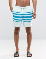 Asos Swim Shorts In Blue With Placement Stripe and Drawcord Detail In Mid Length