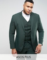 Asos Plus Slim Suit Jacket In Green