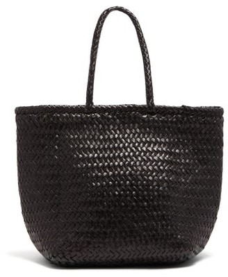 Dragon Optical Diffusion - Grace Small Woven-leather Basket Bag - Womens - Black