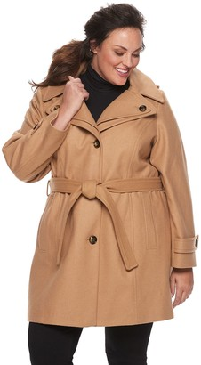 Plus Size TOWER by London Fog Hooded Belted Wool Blend Coat