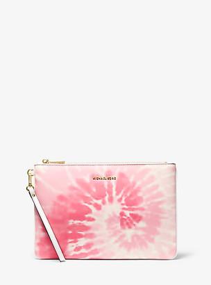MICHAEL Michael Kors MK Large Tie Dye Zip Pouch - Shell Pink - Michael Kors