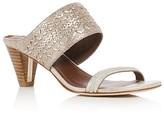 Donald J Pliner Viv Embossed Metallic Mid Heel Slide Sandals