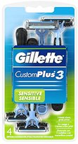 Gillette CustomPlus 3 Disposable Razor, Sensitive, 4 Count