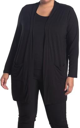 PREMISE STUDIO Long Sleeve Open Front Jersey Tunic Cardigan
