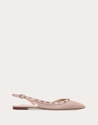 Valentino Garavani Rockstud Calfskin Leather Slingback Ballet Flat Women Poudre 41.5