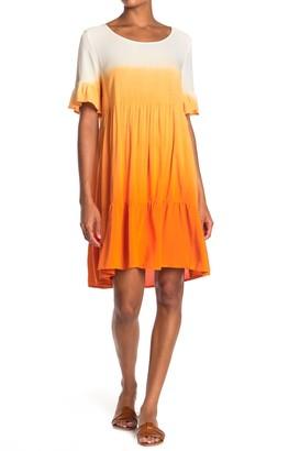 GOOD LUCK GEM Ombre Tier Short Sleeve Dress