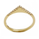 ONE JEWELRY Dixie 14K Flat Stack Ring With Pave Diamonds