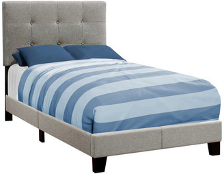 Monarch Specialties Contemporary Upholstered Bed, Gray, Twin, Material: Linen