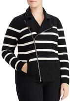 Lauren Ralph Lauren Plus Striped Moto Jacket