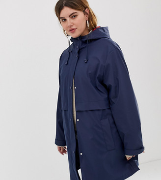 Asos DESIGN Curve raincoat with brushed check lining