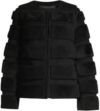 Pologeorgis Brick Shearling-Striped Jacket