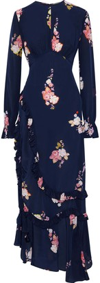 Preen Line Gabriella Asymmetric Gathered Floral-print Crepe De Chine Maxi Dress