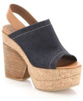 See by Chloe Edith Denim & Leather Wedge Sandals