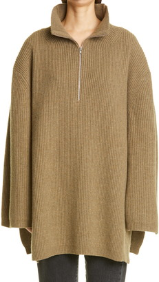 Totême Tomar Oversized Quarter Zip Wool Blend Sweater
