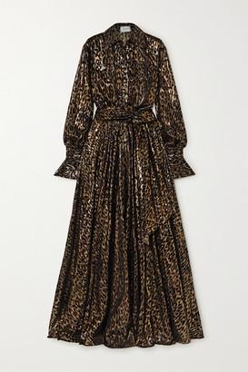 Redemption Belted Metallic Flocked Silk-blend Gown - Black