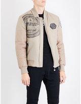 Philipp Plein Skull logo-print satin bomber jacket