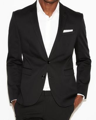 Express Extra Slim Black Cotton Sateen Suit Jacket