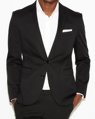 Express Extra Slim Black Cotton Sateen Suit Jacket