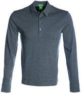 BOSS GREEN Hugo Boss Long Sleeve Polo Shirt C-Paderna in Light Grey L
