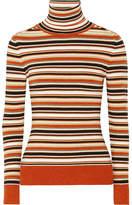 JoosTricot - Striped Metallic Knitted Turtleneck Sweater - Orange