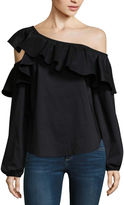 BELLE + SKY One Shoulder Ruffle Shirt