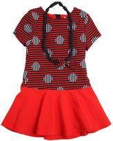 Little Marc Jacobs Polka Dot Striped Textured Techno Dress