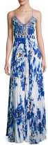 Camilla Embellished Pleat-Skirt Slip Maxi Dress, Ring of Roses