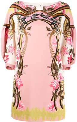 Alberta Ferretti Floral-Print Draped-Sleeve Short Dress