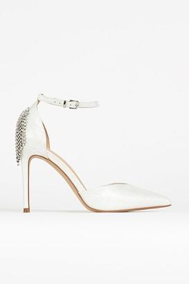 Wallis White Jewel Ankle Strap Court Shoe