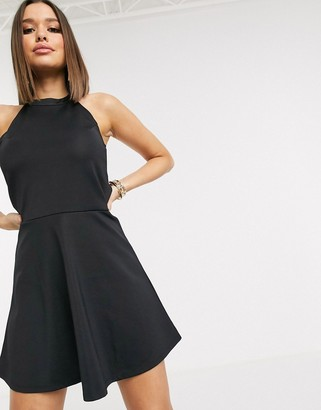 NA-KD sustainable fabric flippy skater dress in black