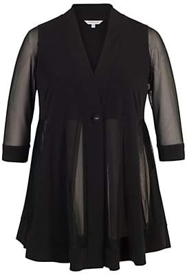 chesca Chesca Mesh And Jersey Panel Jacket, Black