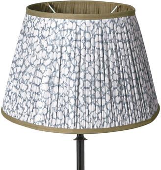 OKA 50cm Guilloche Pleated Cotton Lampshade - Blue