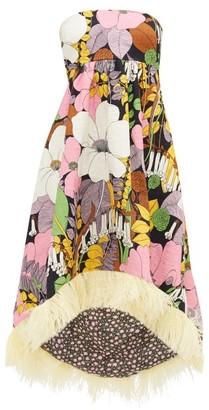 La DoubleJ La Scala Dip-hem Floral-print Cotton-blend Dress - Yellow Multi