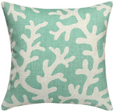 123 Creations Coral Printed Linen Pillow With Feather-Down Insert, Aqua