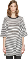 R 13 White Striped Boyfriend T-shirt