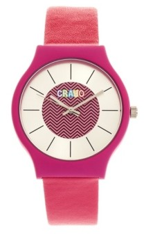 Crayo Unisex Trinity Hot Pink Leatherette Strap Watch 36mm