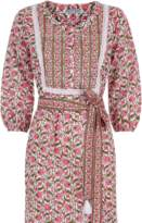 Pink City Prints - Organic Cotton Rose Mogul Midi Dress - M/L | organic cotton