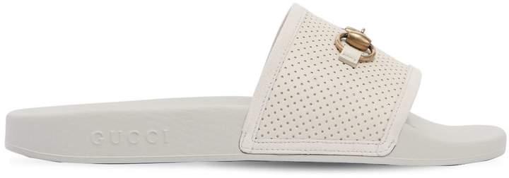 Gucci Pursuite Horsebit Leather Slide Sandals